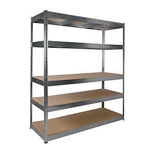 Image of Rb Boss 5 Tier Wood Shelving Kit Galvanised - 1800 x 1600 x 600mm 250kg Udl