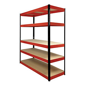 Image of Rb Boss 5 Tier Wood Shelving Kit Red & Black - 1800 x 1600 x 600mm 250kg Udl