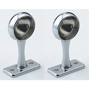 Wickes Interior Deluxe End Rail Bracket - 25mm Chrome Pack of 2