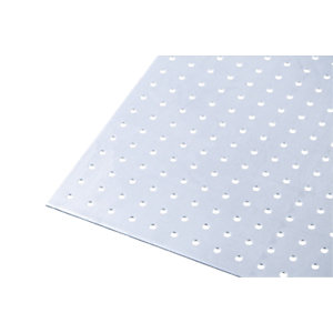 Wickes Metal Sheet Perforated Round Hole 4.5mm Uncoated Aluminium 250 x 500mm
