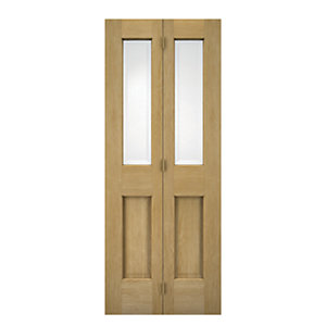 Wickes Cobham Internal Oak Veneer Glazed 4 Panel Bi-fold Door - 1981 x 686mm