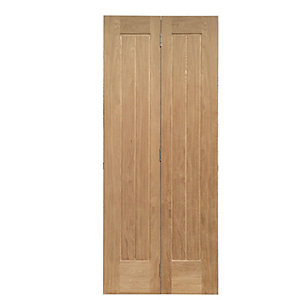 Wickes Geneva Oak Cottage 5 Panel Internal Bi-fold Door - 1981mm x 762mm
