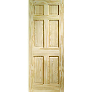 Wickes Durham Clear Pine 6 Panel Internal Fire Door - 1981mm x 762mm