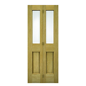 Wickes Cobham Glazed Oak 4 Panel Internal Bi-fold Door - 1981mm x 762mm