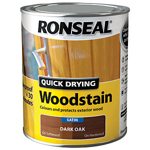 Ronseal Quick Drying Woodstain - Satin Dark Oak 750ml