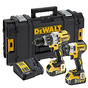 Image of DeWalt DCK276P2-GB 18V XR 5.0Ah Brushless Combi Drill & Impact Driver Twin Pack