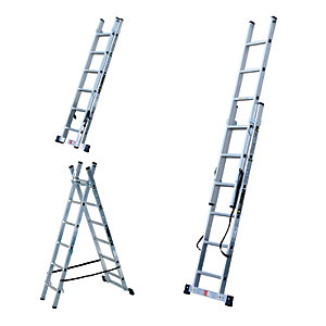 Compare retail prices of Youngman Professional 3 Way Aluminium Combination Ladder - Max Height 2.5m to get the best deal online
