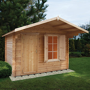 Shire 10 x 6 ft Hopton Security Log Cabin with Shuttered Window