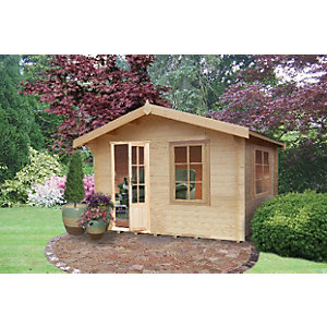 Shire 12 x 8 ft Bucknells Log Cabin with Overhang