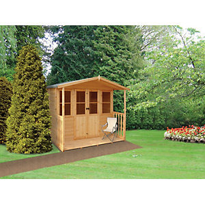 Shire 7 x 7 ft Houghton Apex Double Door Dip Treated Summerhouse with Veranda