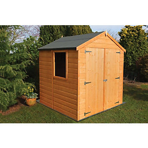 Shire Double Door Timber Shiplap Apex Shed - 6 x 6 ft