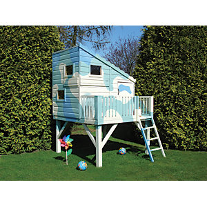 Shire 6 x 6 ft Command Post & Platform Elevated Wooden Playhouse with Balcony