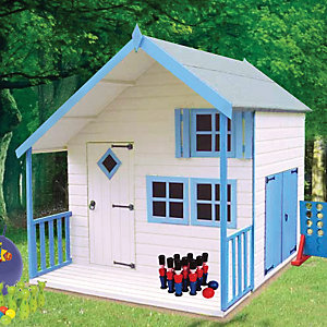 Shire 7 x 6 ft Crib & Bunk Wooden Playhouse with Double Side Door & Veranda