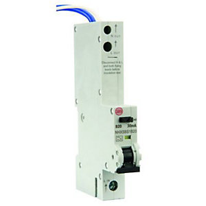 Image of Wylex 30mA Type B RCBO Miniture Circuit Breaker - 20A