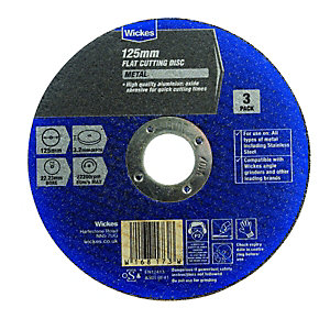 Wickes Metal Flat Cutting Disc 125mm - Pack of 3