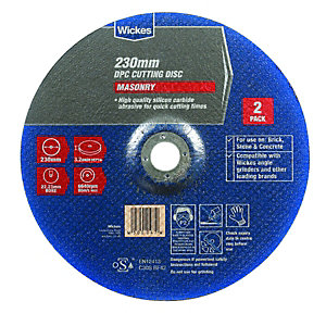 Wickes Masonry DPC Cutting Disc - 230mm - Pack of 2