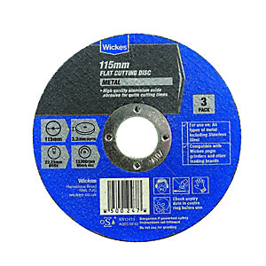 Wickes Metal Flat Cutting Disc 115mm - Pack of 3