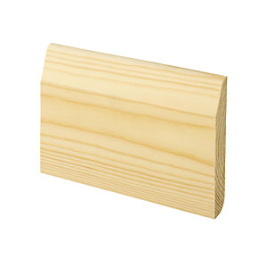 Wickes Dual Purpose Large Round/Chamfered Pine Skirting - 15mm x 95mm x 2.4m Pack of 4