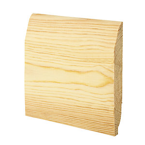 Wickes Dual Purpose Chamfered/Ovolo Pine Skirting - 20.5mm x 144mm x 2.4m Pack of 4