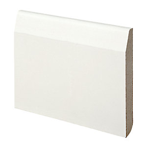 Wickes Dual Purpose Chamfered/Bullnose Primed MDF Skirting - 14.5mm x 119mm x 2.4m Pack of 4