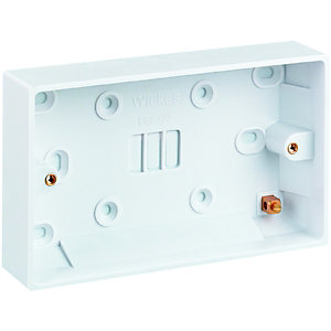Wickes 2 Gang Pattress Box - White 25mm
