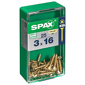 Spax PZ 16mm Countersunk Zinc Yellow Screws - Pack of 25