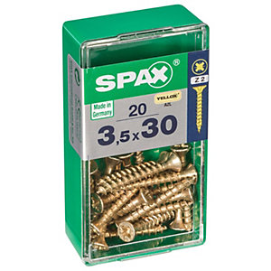 Spax PZ Countersunk Zinc Yellow Screws - 3.5 x 30mm Pack of 20