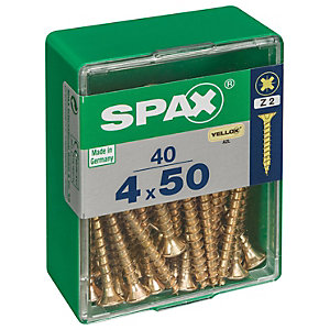 Spax PZ Countersunk Zinc Yellow Screws - 4 x 50mm Pack of 40