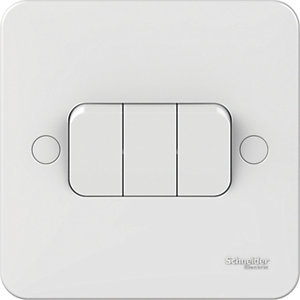 Lisse 3 Gang 2 Way Switch - White