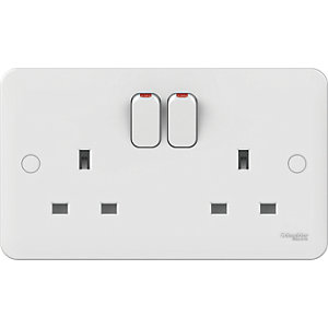 Lisse 2 Gang 13A Double Pole Switched Socket - White