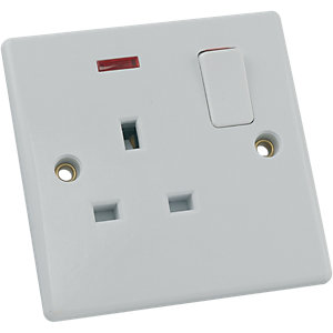 Schneider Ultimate 13A Single Switched Socket with Neon - White