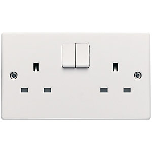 Schneider Ultimate 13A Double Pole Twin Switched Socket - White