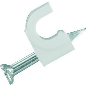 Wickes Round Cable Clips - White 5mm Pack of 50