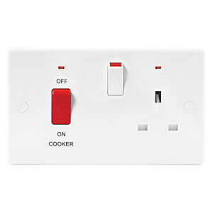 Image of Wickes 45A Cooker Control with Neon Slimline White
