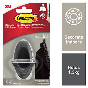 Command Double Hook - Slate Grey