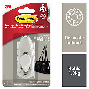 Command Medium Bright Chrome Metal Hook