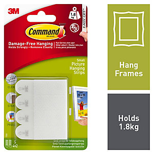 Command Small Picture Hanging Strips - White Pack of 4