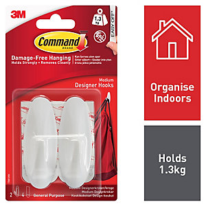 Command Medium Oval Hooks - White Pack of 2
