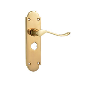 Wickes Prague Victorian Shaped Privacy Door Handle - Polished Brass 1 Pair