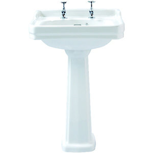 Wickes Hamilton Ceramic Basin with Full Pedestal - 600mm