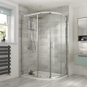 Wickes 1200 x 800mm - Offset Quadrant Semi Frameless Sliding Shower Enclosure - Chrome