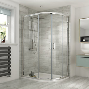 Wickes 1200 x 900mm - Offset Quadrant Semi Frameless Sliding Shower Enclosure - Chrome