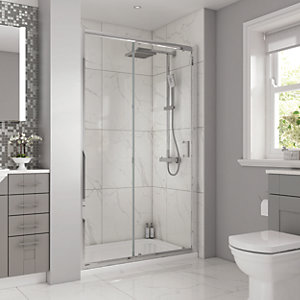 Wickes 1000 x 900mm - Rectangular Slider Semi Frameless Shower Enclosure - Chrome