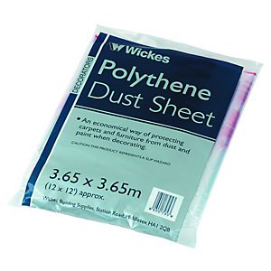 Image of Wickes Polythene Dust Sheet - 3.65 x 3.65m