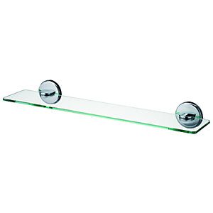 Wickes Boston Glass Shelf - Chrome 500mm