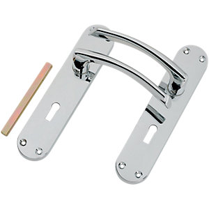 Wickes Dante Locking Door Handle - Polished Chrome 1 Pair