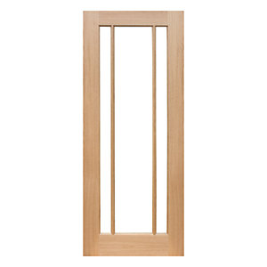 Wickes York Internal Glazed 3 Panel Oak Veneer Door - 1981 x 838mm