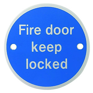 Wickes FD121 Fire Door Keep Locked Safety Sign - 70mm PVC
