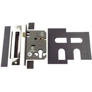 Image of Wickes FD020 Mortice Sashlock Euro Profile with Plates - Stainless Steel 76mm