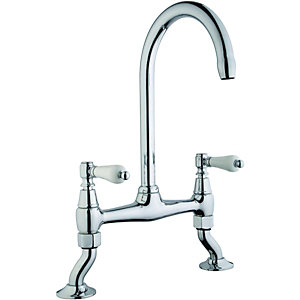 Wickes Zores Bridge Kitchen Mixer Sink Tap - Chrome